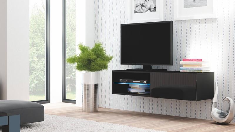 LIVO skrinka RTV 120 závesná čierna