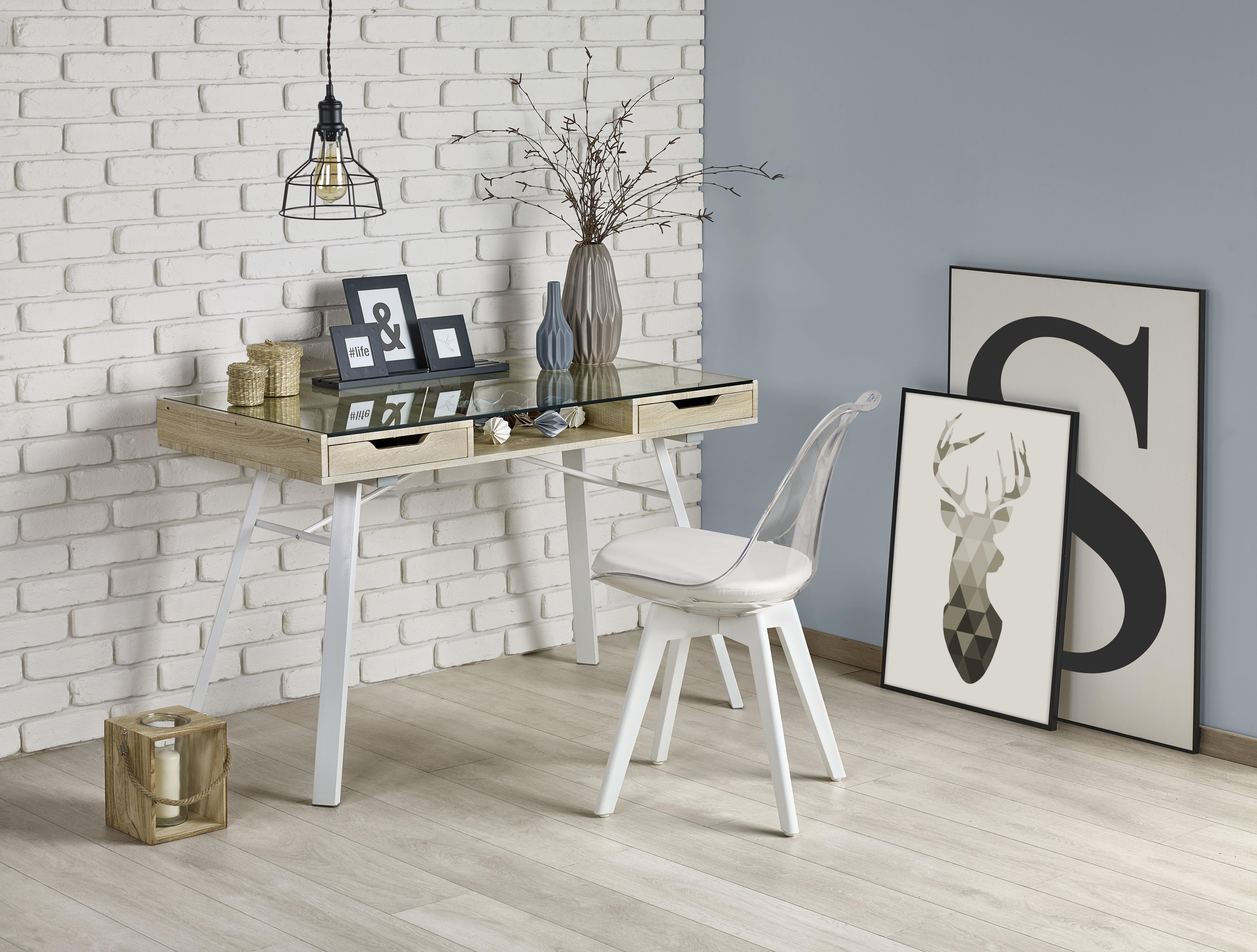 B33 PC stôl dub sonoma-biely