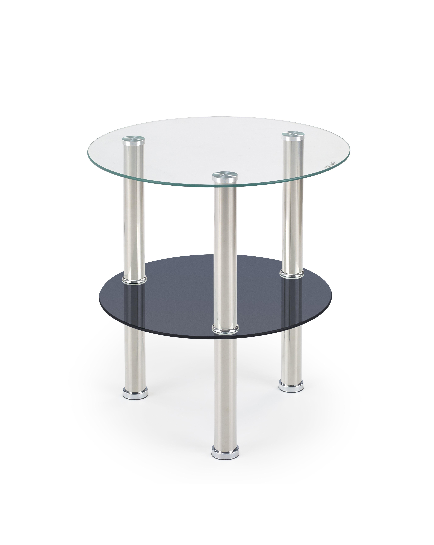SARDINIA konferenčný stolík doska - bezfarebná, polička - čierna