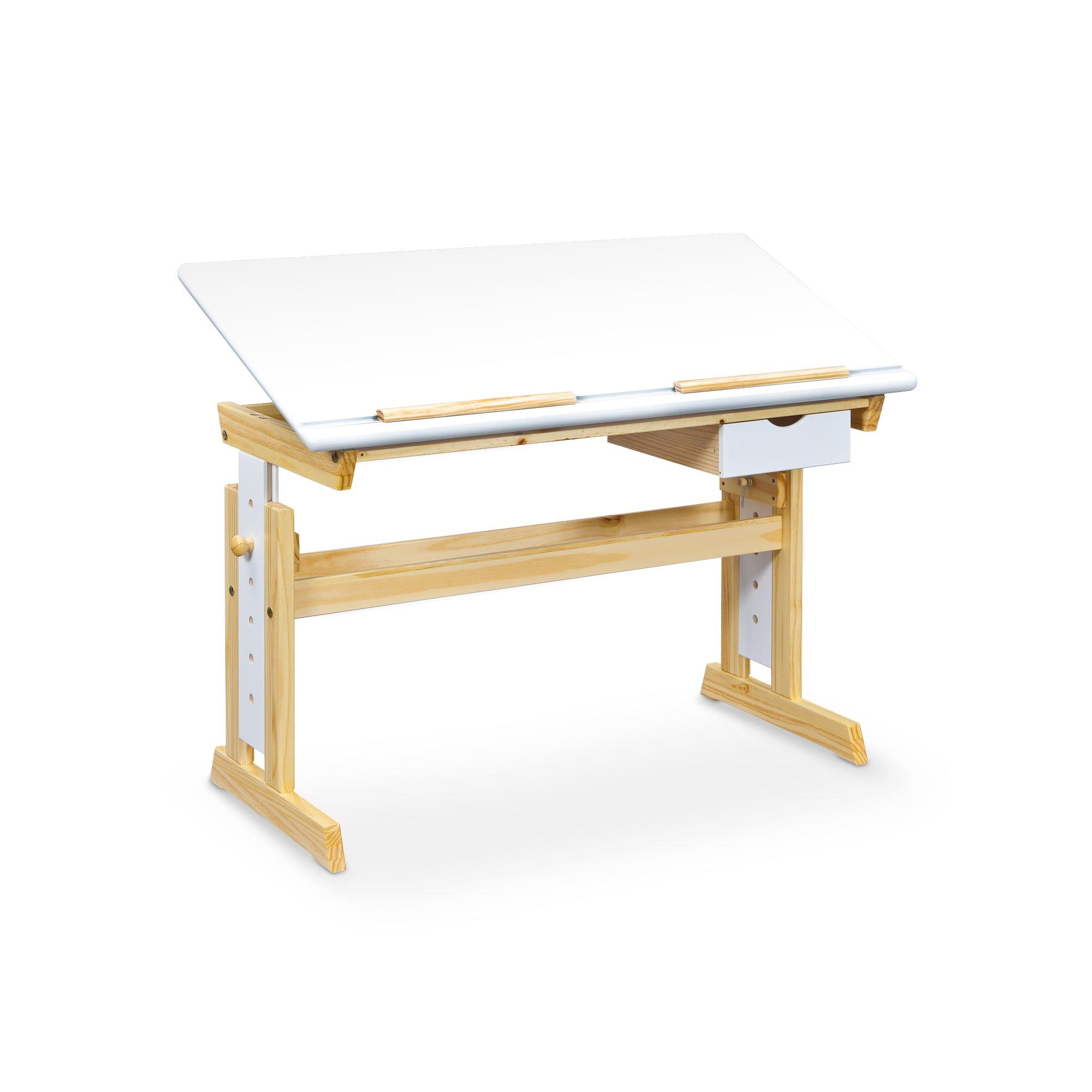 ANAS PC stôl biely-borovica