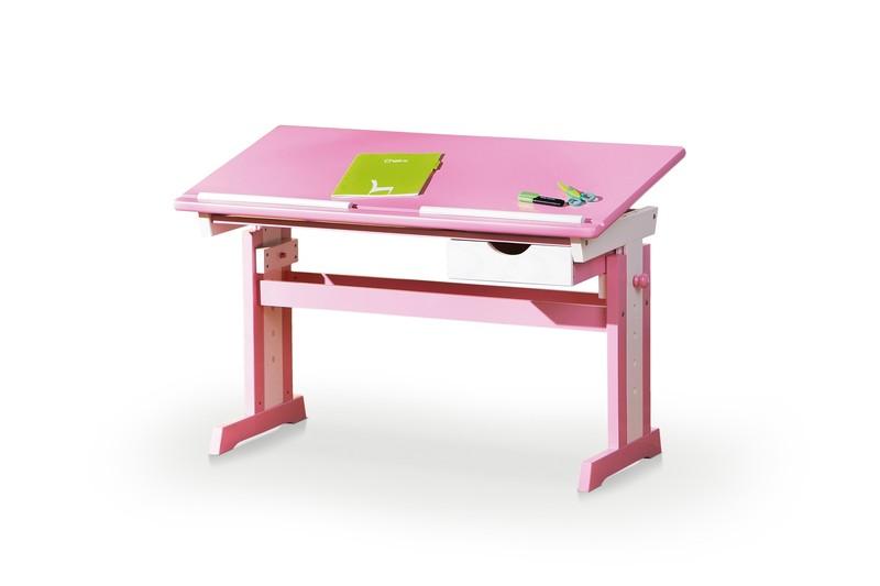 CECILIA PC stôl ružovo - biely